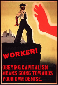 worker standing at capitalism's abyss